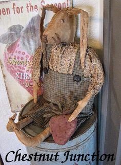 Mr Berry Bunny ePattern...primitive easter rabbit doll pattern by chestnutjunction, $3.99