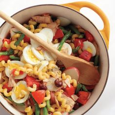 Whipping up this sensational pasta dinner is as easy as boiling water. Eggs, pasta, and an array of bright produce cook in a single pot for a meal that's sure to be a new summer classic.
