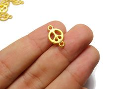 Peace Symbol Charms, 6 Pieces 24K Gold Plated Hippie  Peace Sign Mini Connectors - CMISCG036 by FoxyBeadsCo on Etsy
