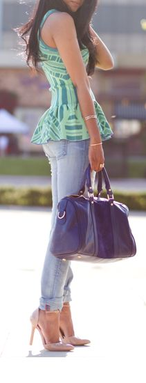 peplum top w/fitted jeans