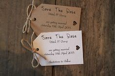 10 Personalised Save The Date Vintage Shabby Chic Rustic Tags Wedding Invitation