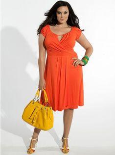 Fortuna Dress in Fiesta Orange, $98, Igigi.com