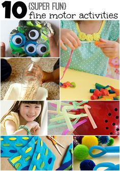 10 super fun fine motor activities for kids. I NEVER though to use a colander like that. SO SMART!