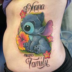 Stich-Ohana-Tattoo-troy-slack - New Ideas Trendy Tattoos, Love Tattoos, Beautiful Tattoos, Body Art Tattoos, Small Tattoos, Ohana Tattoo, 4 Tattoo, Tattoo Drawings, Lilo And Stitch Tattoo