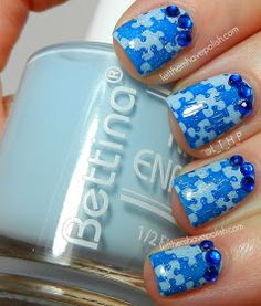 Let them have Polish!: In Bettina Blues for World Autism Awareness Day.  Bundle Monster puzzle stamp nail art.