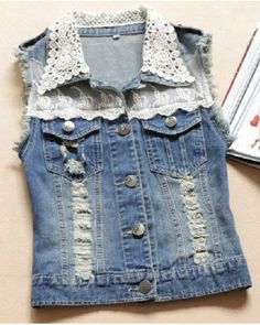 New Women Spring&Summer Fashion Casual Vintage Ripped Hole Denim Vest Lace Sleeveless Solid Female Cowboy Coat Denim Jacket Tops Blue Jean Vest, Dress With Jean Jacket, Lace Jacket, Vest Jacket, Denim Vests, Denim Coat, Denim Jackets, Denim Waistcoat, Denim Ideas