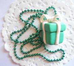 Last pairs - Tiffany gift box earrings - handmade polymer clay miniatures