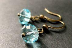 Aqua Crystal Earrings. Dangle Earrings in by StumblingOnSainthood, $14.00