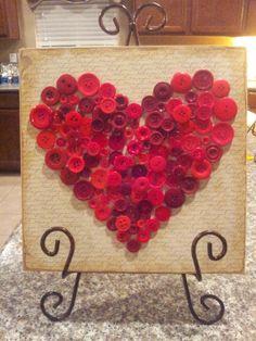 Valentine's Button Heart decor