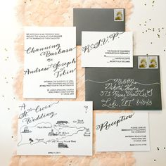 Letterpress Wedding Invitation Suite  Custom by PrettyMuchOnline