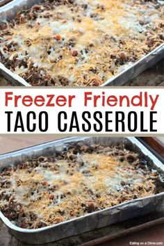 Are you looking for a quick and easy dinner recipe? This taco casserole recipe tastes amazing and freezes well too! One for dinner and one to freeze for later. This is a delicious freezer meal that your family will Freezer Friendly Meals, Make Ahead Freezer Meals, Freezer Cooking, Cooking Recipes, Make Ahead Casseroles, Easy Meals, Recipes To Freeze, Hamburger Freezer Meals, Cooking Ideas