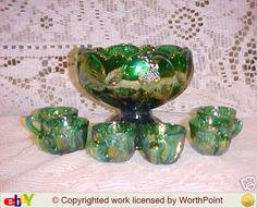 Miniature Carnival Glass Punch Bowl Set