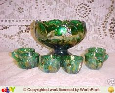 Miniature Carnival Glass Punch Bowl Set