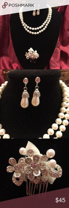 """Bridal/Evening Fashion 3pc set, Lot 4 The necklace is 14"""" long and is white faux pearls. The earrings are a mix of silver, clear rhinestone and pearl. The hair comb is lovely and matches perfectly. Jewelry Necklaces"""