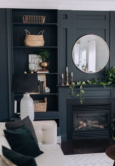 Cool 42 Attractive Black Living Room Decoration Ideas For More Enchanting Look Black And White Interior, White Interior Design, Room Interior, Interior Design Living Room, Interior Decorating, Living Room Decor Fireplace, Monochromatic Room, New Living Room, Small Living