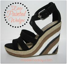 DIY Easy Painted Wedges from made in a day here. This is a really easy restyle of clearance wedges from Target.