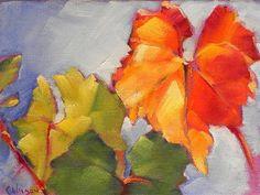 "Daily Paintworks - ""Wine Leaf"" - Original Fine Art for Sale - © Cheryl Wilson"