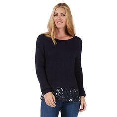 Nine by Savannah Miller Navy blue jumper with blouse detailing- at Debenhams. Savannah Miller, Pretty Star, Debenhams, Layered Look, Star Print, Savannah Chat, Knitwear, Navy Blue, Tunic Tops