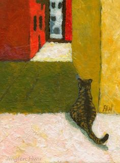 thecatart:  cat art print, acrylic painting - Waiting For Someone's Return - wall art, home decor, cat lover gift, desk decoration cat pictures art