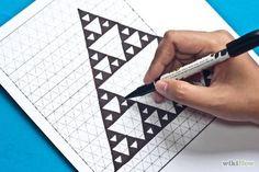 How to Make a Sierpinski Triangle. The Sierpinski triangle was named after its inventor, the Polish mathematician Wacław Sierpiński. This intriguing design consists entirely of simple equilateral triangles. Triangle Drawing, Triangle Art, Math Art, Fun Math, Maths, Blackwork, Zentangle, Family Math Night, Euclidean Geometry
