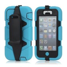 Wholesale Griffin Survivor Military Duty Belt Clip Holster Case for iPhone 5 - Black / Blue - iPhone 5 Hard Cases