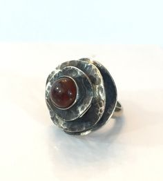 Vintage 800 Silver Baltic Amber Ring by AntiqueJewelryForFun