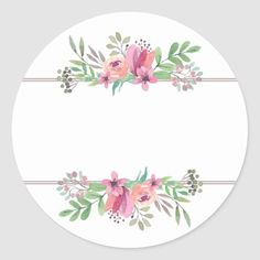 Watercolor Flowers in Pink, Circle Address Sticker