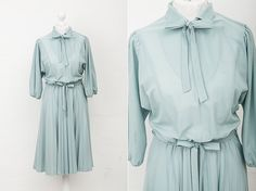 70s Mint Three-Quarter Sleeve Secretary Dress von Cover Vintage auf DaWanda.com