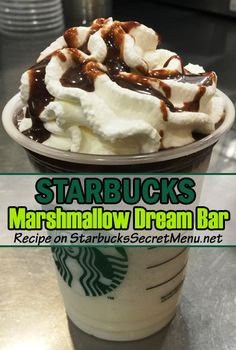 Starbucks Marshmallow Dream Bar Frappuccino #StarbucksSecretMenu Delicious chocolate, marshmallo and vanilla? Yes Please!