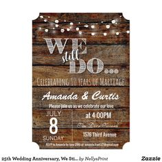 Customizable Invitation made by Zazzle Invitations. 25th Wedding Anniversary, Anniversary Ideas, Anniversary Cards, 10 Years After, Create Your Own Invitations, 50th, White Envelopes, Rsvp, Marriage