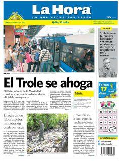 Los temas destacados son: El Trole se ahoga, Droga: cinco laboratorio hallados en cuatro meses, y Colombia irá a una segunda vuelta electoral.