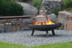 Fire bowl made of steel 1000 mm / with 3 legs and 2 handles