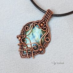 Labradorite pendant wire wrapped jewelry copper jewelry
