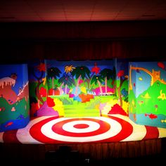 """Our set for """"Seussical"""" done and designed  by myself. We worked really hard to get this just right."""
