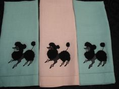 Poodles Hand Towels My Mum hadsome of these and I remember we had Poodle curtains in the bathroom hillarious Red Poodles, French Poodles, Standard Poodles, Poodle Haircut, Pink Poodle, Hand Towels, Tea Towels, Cute Baby Animals, Girls Best Friend