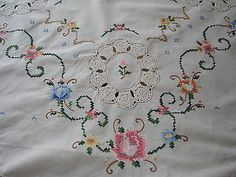 Vintage hand embroidered crochet cross stitch tablecloth