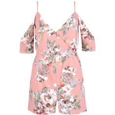 Boohoo Blair Floral Cold Shoulder Playsuit ($40) ❤ liked on Polyvore featuring jumpsuits, rompers, dresses, flower print romper, floral print romper, cold shoulder romper, floral rompers and red romper
