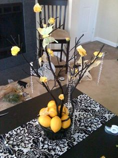black and yellow manzanita crystal centerpieces, damask runners and pompoms : wedding black ceremony damask decor for sale manzanita reception tall centerpieces white Centerpieces Manzanita Centerpiece, Crystal Centerpieces, White Centerpiece, Floral Centerpieces, Centrepieces, Damask Wedding, Yellow Wedding, Dream Wedding, Wedding Black