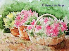 Basket of Flowers Garden Patio Print of Watercolor Painting