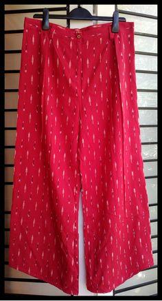 ikats by tadka Crimson pink ikat straight fit cotton pant