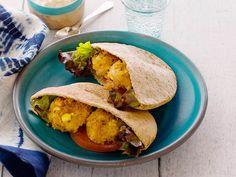 Veggie Mini Burger Pita with Cucumber Yogurt Sauce Recipe : Jeff Mauro : Food Network - FoodNetwork.com