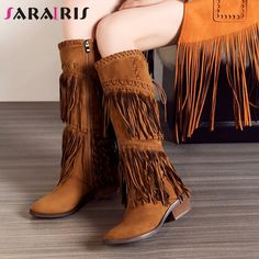 2d9250e2a45 SARAIRIS 2019 Chunky Heels Fringe Shoes Woman Zip Up Knee High Boots Women  Shoes Large Size