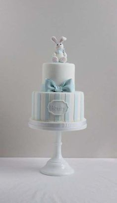 2 tier cake with fondant bunny and fondant bow. christening or birthday cake. Baby Shower Cakes For Boys, Baby Boy Cakes, Baby Boy Shower, Baby Boy Christening Cake, Baby Boy Baptism, Baptism Cakes, Cake With Fondant, Fondant Bow, Nake Cake
