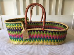 Handwoven Moses Basket by OranaHomeAustralia on Etsy.