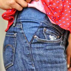 NaLaN'ın Dünyası : DAR GİYSİLERİ GENİŞLETMEK İÇİN Diy Jeans, Sewing Jeans, Sewing Clothes, Diy Clothes, Fashion Clothes, Easy Sewing Projects, Sewing Projects For Beginners, Sewing Hacks, Sewing Tutorials