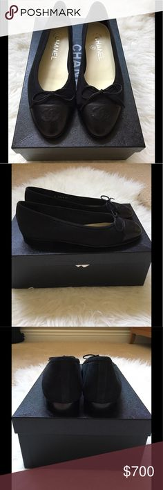 Brand ✨NEW✨ chanel ballet flats Brand new suede/leather black chanel ballet flats.  Come with original box. Size 35 CHANEL Shoes Flats & Loafers