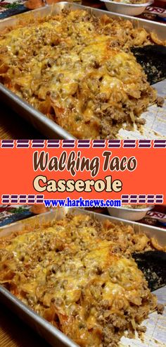 Walking Taco Casserole Ingredients : 1 pounds Ground Beef large Onion, chopped 1 can Green Chilies, small can 1 can Enchilada Sauce 2 ounces Cream Cheese 1 bag Fritos Corn Chips 1 bag Shredded Casserole Dishes, Casserole Recipes, Meat Recipes, Mexican Food Recipes, Dinner Recipes, Cooking Recipes, Healthy Recipes, Mexican Meals, Recipes
