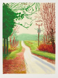David Hockney, The Arrival of Spring (2011) iPad drawing printed on paper. 55 x 41-1/2'' (139.7 x 105.4 cm) (as seen at Pace Gallery on Sept. 6, 2014)