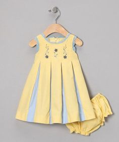 ec3874a8 Periwinkle Yellow & Blue Wholly Pleated Dress & Diaper Cover -  Infant | zulily