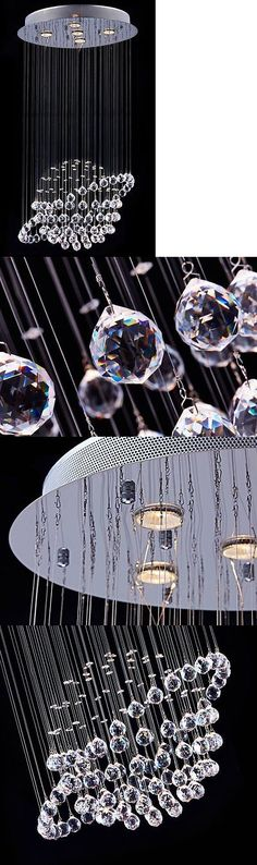 Chandeliers and Ceiling Fixtures 117503: Crystal Round Chandelier Modern Flush Mount Chrome Ceiling Light Raindrop -> BUY IT NOW ONLY: $89.99 on eBay!